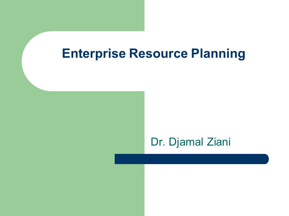 Enterprise Resource Planning Dr. Djamal Ziani