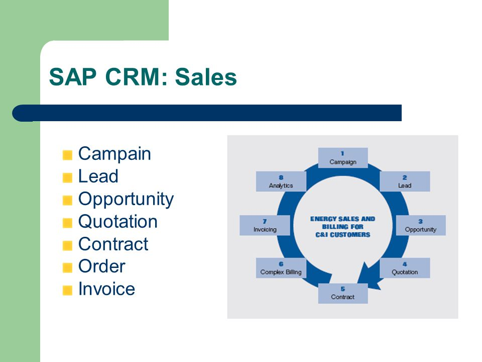 SAP CRM: Sales Campain Lead Opportunity Quotation Contract Order Invoice