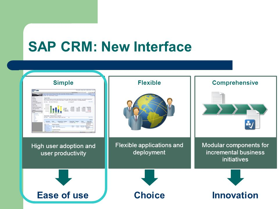 SAP CRM: New Interface ComprehensiveSimpleFlexible Ease of use InnovationChoice Modular components for incremental business initiatives High user adoption and user productivity Flexible applications and deployment