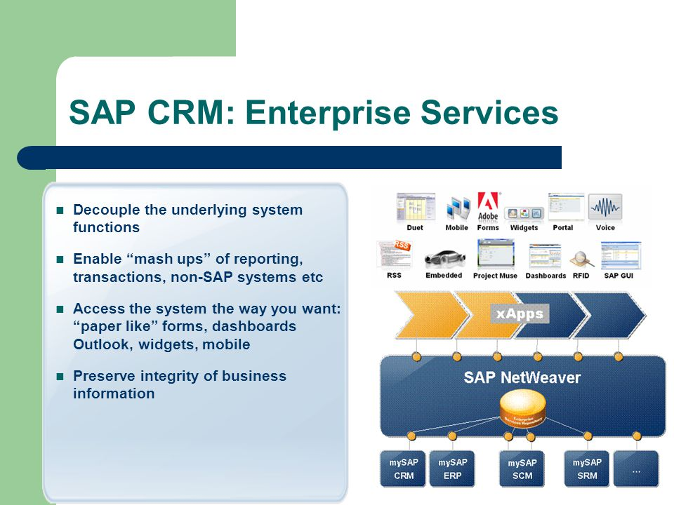 SAP CRM: Enterprise Services Decouple the underlying system functions Enable mash ups of reporting, transactions, non-SAP systems etc Access the system the way you want: paper like forms, dashboards Outlook, widgets, mobile Preserve integrity of business information