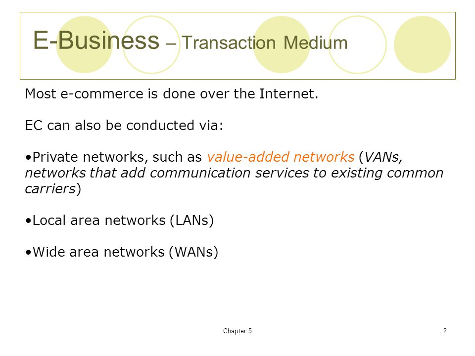 Chapter 52 E-Business – Transaction Medium Most e-commerce is done over the Internet.