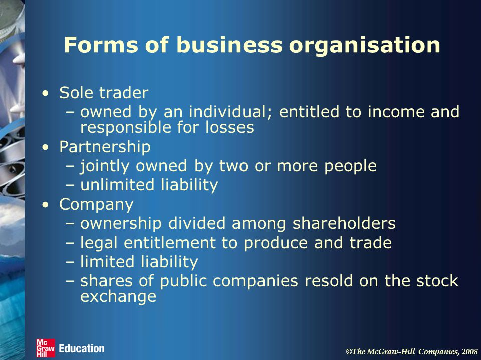 © The McGraw-Hill Companies, 2008 Forms of business organisation Sole trader –owned by an individual; entitled to income and responsible for losses Partnership –jointly owned by two or more people –unlimited liability Company –ownership divided among shareholders –legal entitlement to produce and trade –limited liability –shares of public companies resold on the stock exchange