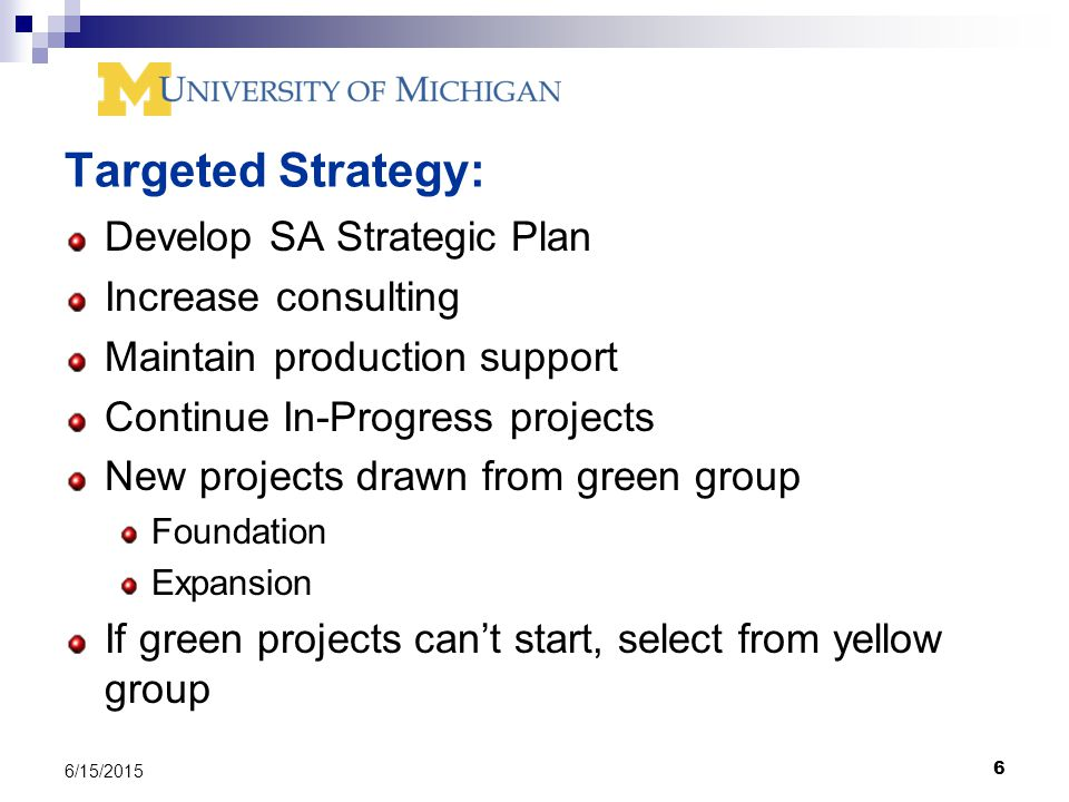 6 6/15/2015 Targeted Strategy: Develop SA Strategic Plan Increase consulting Maintain production support Continue In-Progress projects New projects drawn from green group Foundation Expansion If green projects can't start, select from yellow group