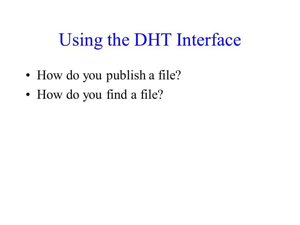 Using the DHT Interface How do you publish a file How do you find a file