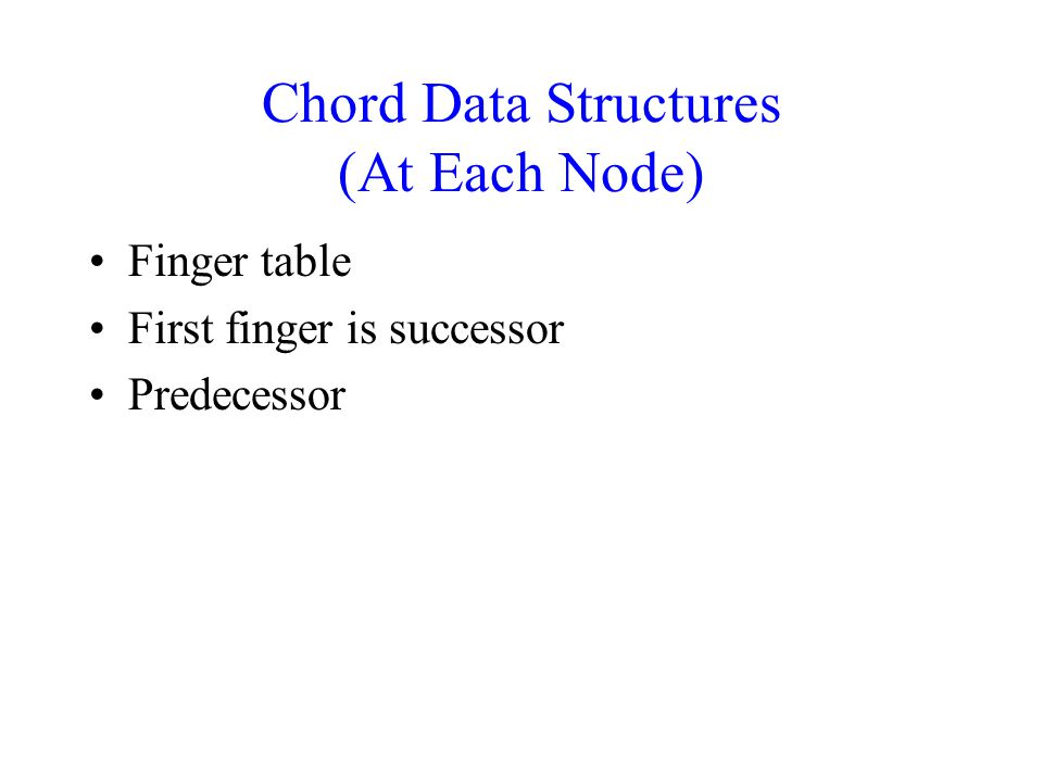 Chord Data Structures (At Each Node) Finger table First finger is successor Predecessor