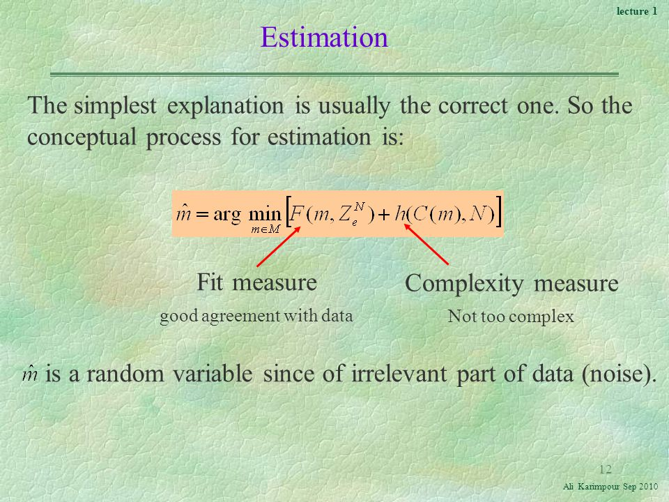 lecture 1 Ali Karimpour Sep Estimation The simplest explanation is usually the correct one.
