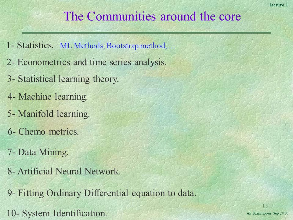 lecture 1 Ali Karimpour Sep The Communities around the core 1- Statistics.