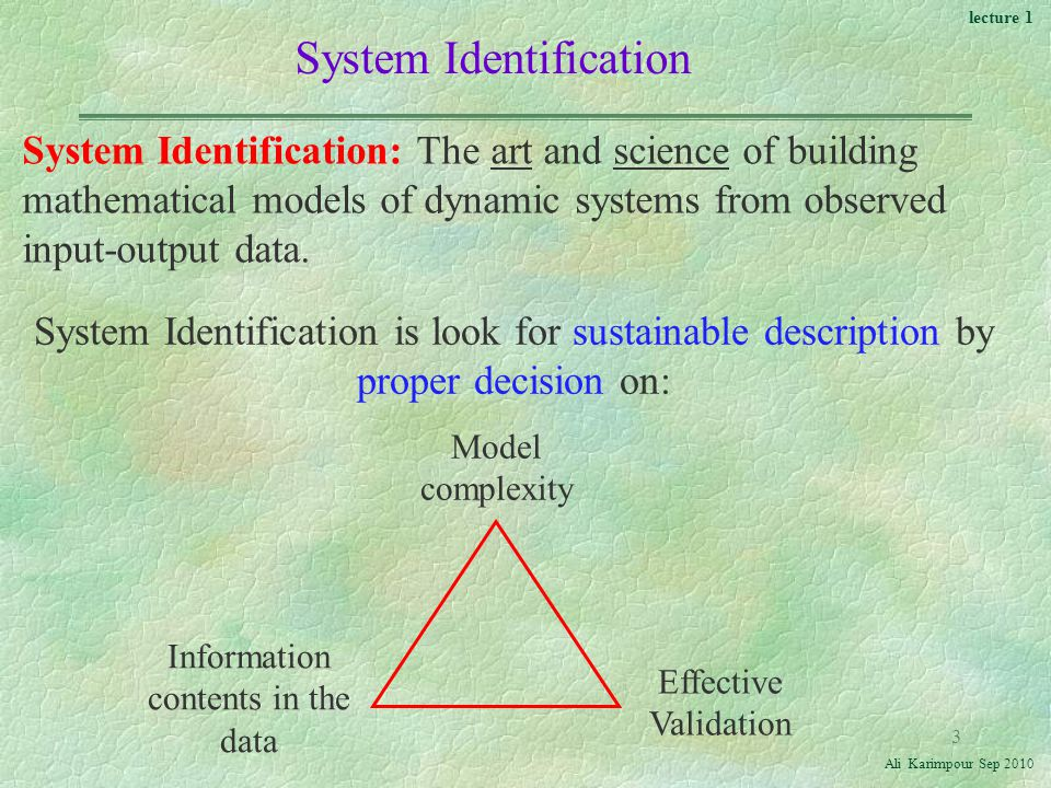 lecture 1 Ali Karimpour Sep System Identification System Identification: The art and science of building mathematical models of dynamic systems from observed input-output data.