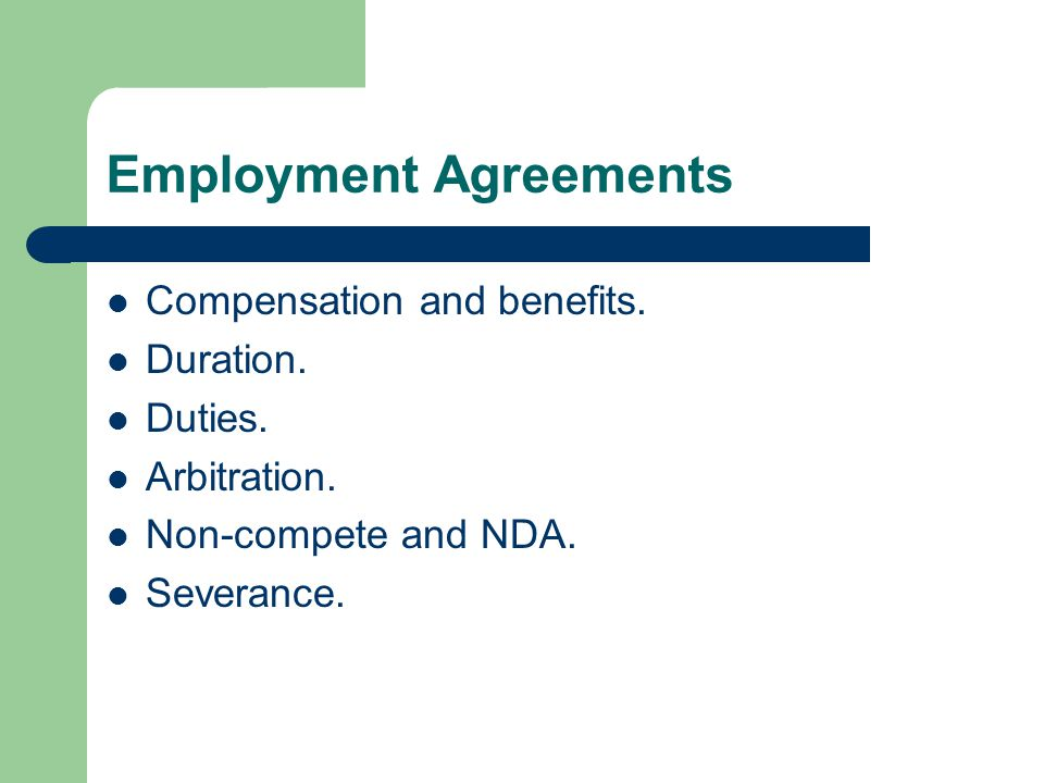 Negotiating employment agreements by neil klingshirn ppt download employment agreements compensation and benefits duration platinumwayz
