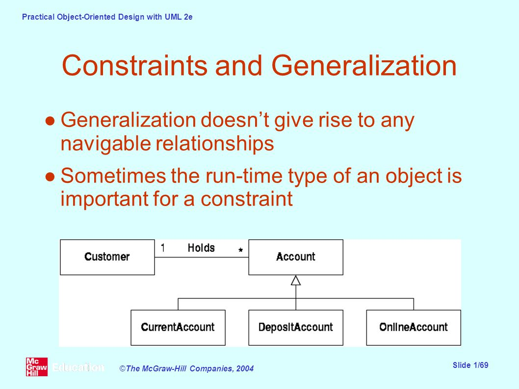 Practical Object-Oriented Design with UML 2e Slide 1/69 ©The McGraw-Hill Companies, 2004 Constraints and Generalization ●Generalization doesn't give rise to any navigable relationships ●Sometimes the run-time type of an object is important for a constraint