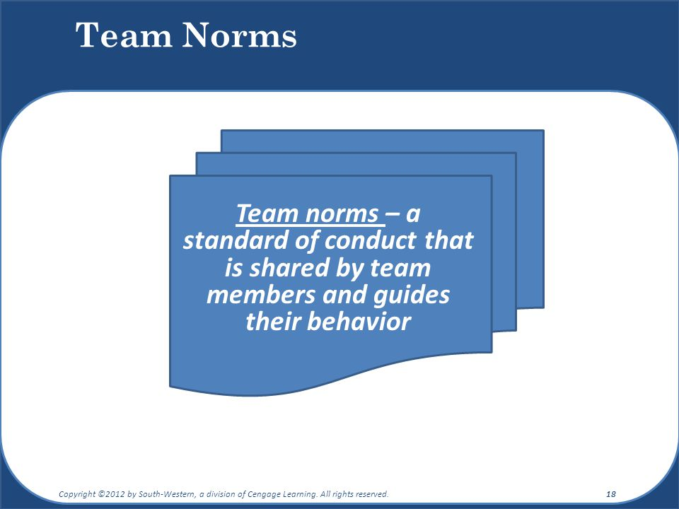 Team Norms Team norms – a standard of conduct that is shared by team members and guides their behavior Copyright ©2012 by South-Western, a division of