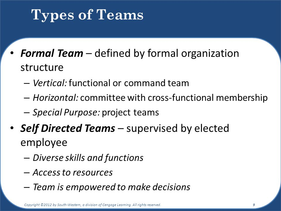 Types of Teams Formal Team – defined by formal organization structure – Vertical: functional or command team – Horizontal: committee with cross-functi