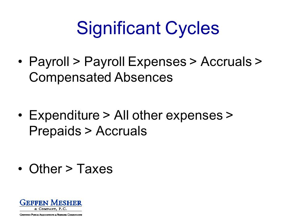 Significant Cycles Payroll > Payroll Expenses > Accruals > Compensated Absences Expenditure > All other expenses > Prepaids > Accruals Other > Taxes