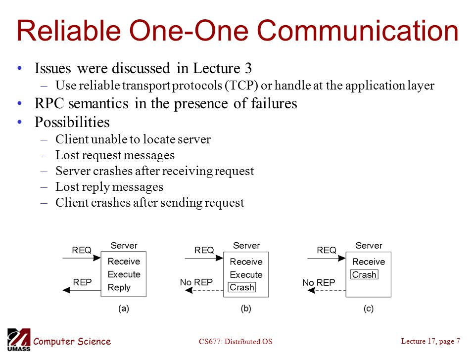 Computer Science Lecture 17, page 7 CS677: Distributed OS Reliable One-One Communication Issues were discussed in Lecture 3 –Use reliable transport protocols (TCP) or handle at the application layer RPC semantics in the presence of failures Possibilities –Client unable to locate server –Lost request messages –Server crashes after receiving request –Lost reply messages –Client crashes after sending request
