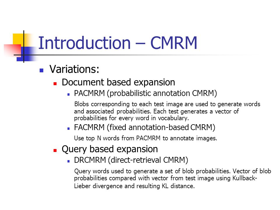 Introduction – CMRM Variations: Document based expansion PACMRM (probabilistic annotation CMRM) Blobs corresponding to each test image are used to generate words and associated probabilities.