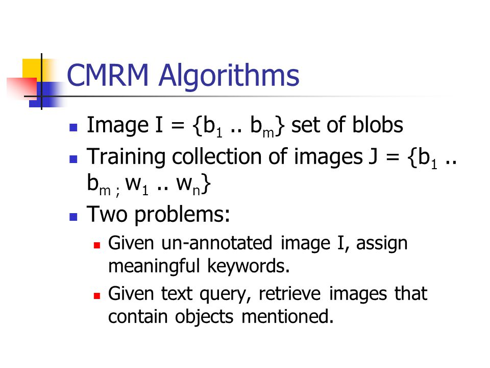 CMRM Algorithms Image I = {b 1.. b m } set of blobs Training collection of images J = {b 1..