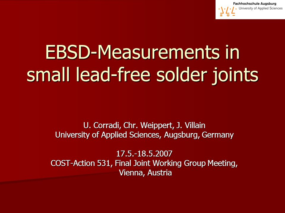 EBSD-Measurements in small lead-free solder joints U.
