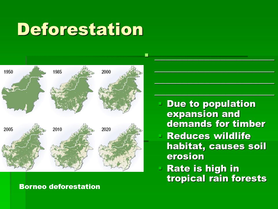 Deforestation  ______________________ ______________________ ______________________ ______________________  Due to population expansion and demands for timber  Reduces wildlife habitat, causes soil erosion  Rate is high in tropical rain forests Borneo deforestation