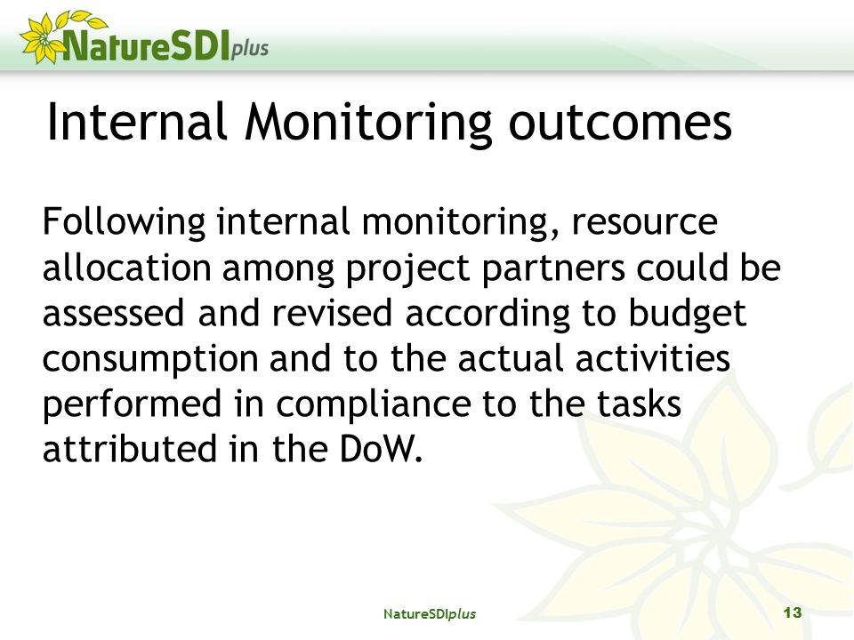 Internal Monitoring outcomes Following internal monitoring, resource allocation among project partners could be assessed and revised according to budget consumption and to the actual activities performed in compliance to the tasks attributed in the DoW.