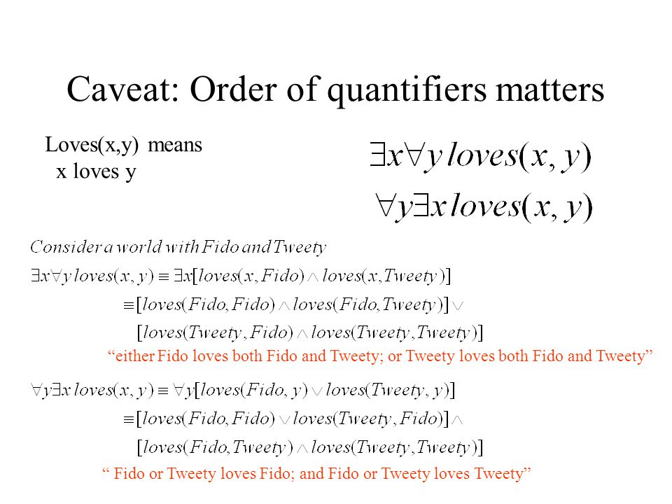 Caveat: Order of quantifiers matters either Fido loves both Fido and Tweety; or Tweety loves both Fido and Tweety Fido or Tweety loves Fido; and Fido or Tweety loves Tweety Loves(x,y) means x loves y