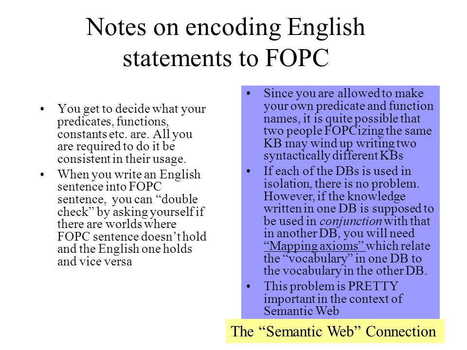 Notes on encoding English statements to FOPC You get to decide what your predicates, functions, constants etc.