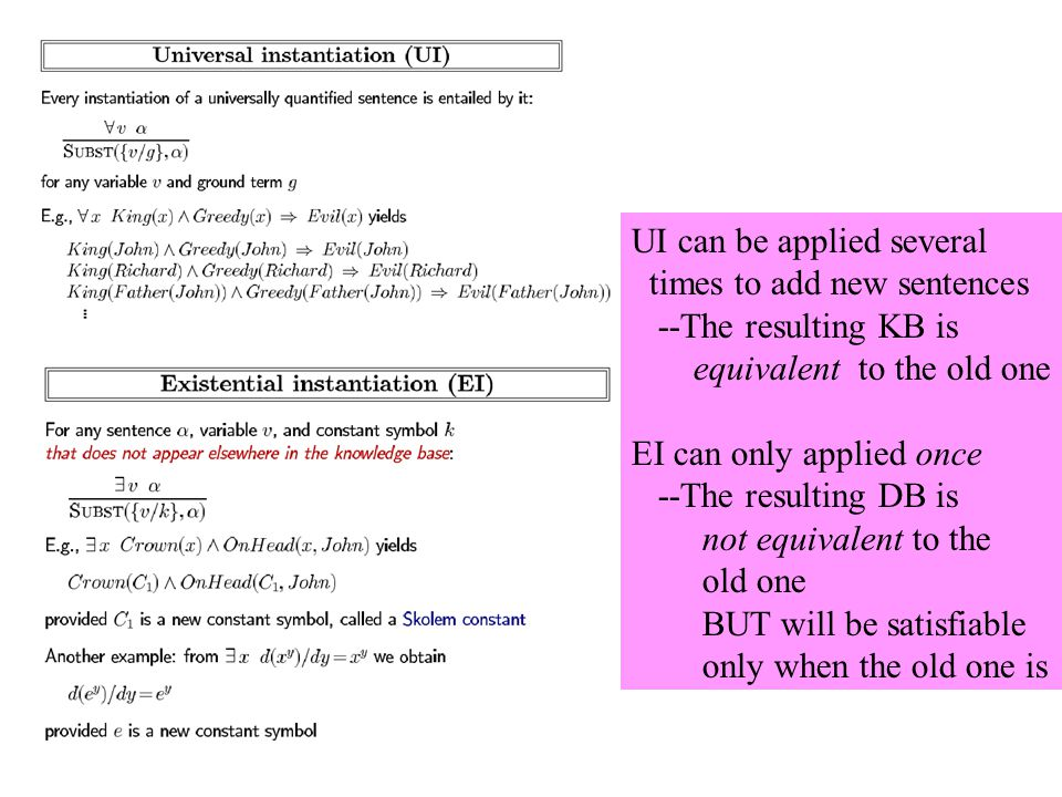 UI can be applied several times to add new sentences --The resulting KB is equivalent to the old one EI can only applied once --The resulting DB is not equivalent to the old one BUT will be satisfiable only when the old one is
