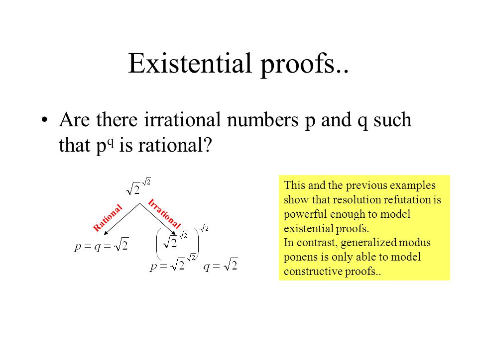 Existential proofs.. Are there irrational numbers p and q such that p q is rational.