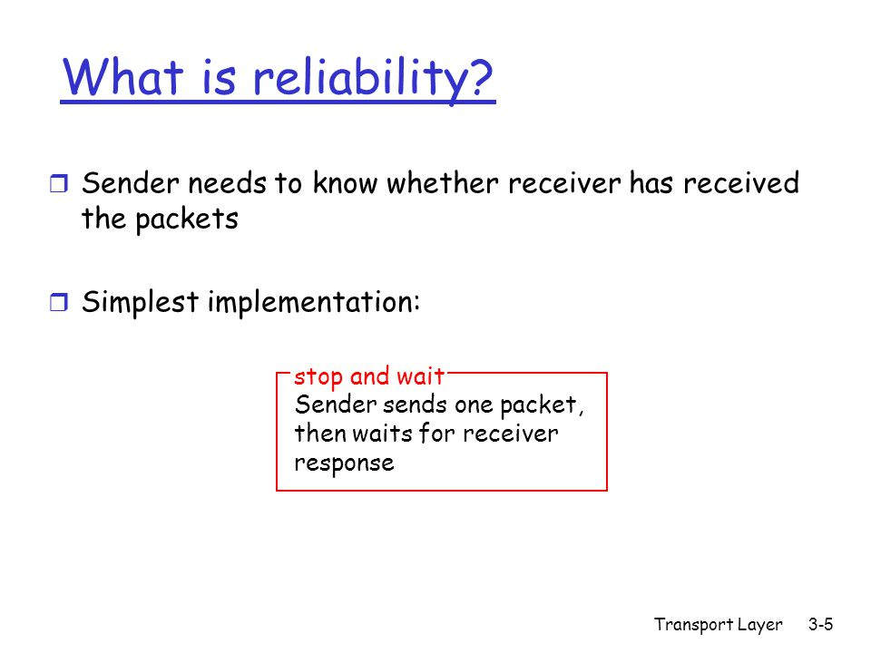 Transport Layer 3-5 What is reliability.