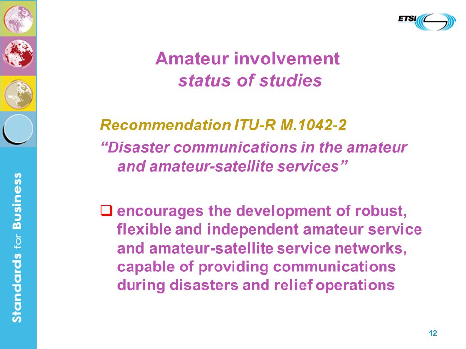 12 Amateur involvement status of studies Recommendation ITU-R M Disaster communications in the amateur and amateur-satellite services  encourages the development of robust, flexible and independent amateur service and amateur-satellite service networks, capable of providing communications during disasters and relief operations