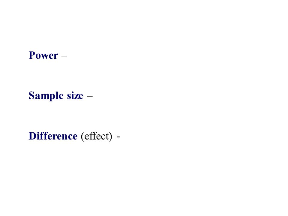 Power – Sample size – Difference (effect) -