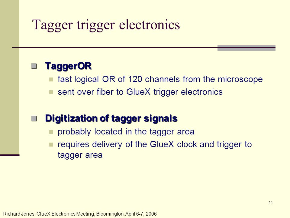 Richard Jones, GlueX Electronics Meeting, Bloomington, April 6-7, Tagger trigger electronics TaggerOR TaggerOR fast logical OR of 120 channels from the microscope sent over fiber to GlueX trigger electronics Digitization of tagger signals Digitization of tagger signals probably located in the tagger area requires delivery of the GlueX clock and trigger to tagger area