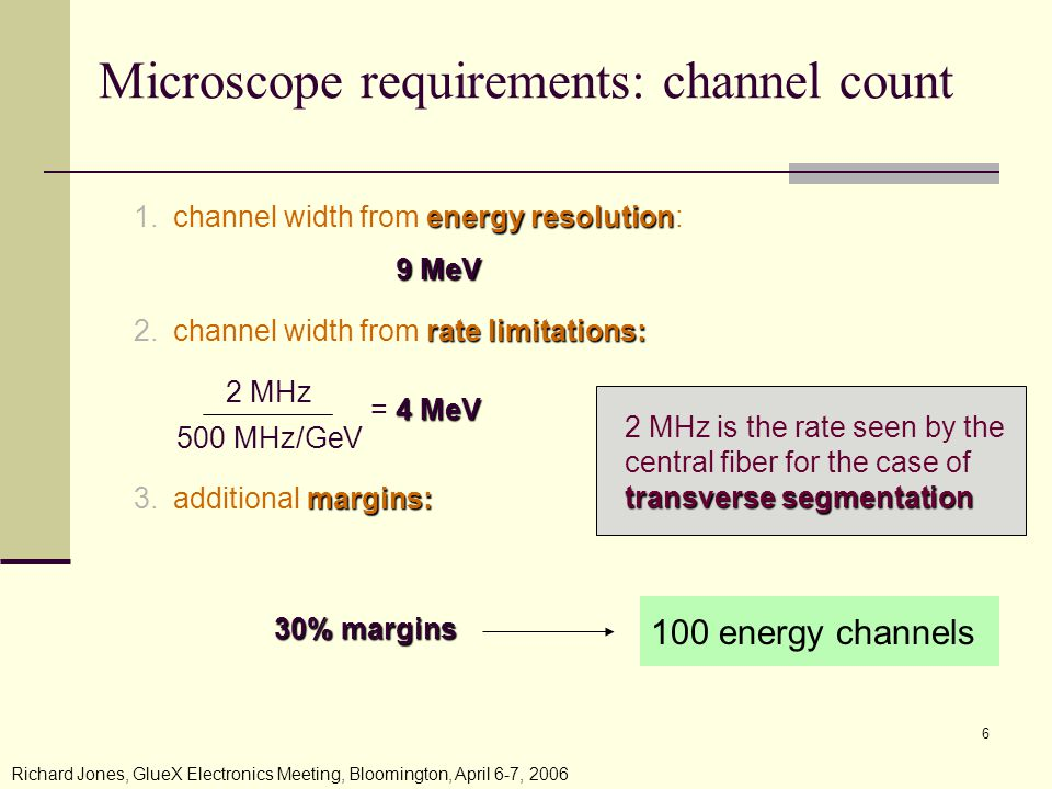Richard Jones, GlueX Electronics Meeting, Bloomington, April 6-7, Microscope requirements: channel count energy resolution 1.channel width from energy resolution: rate limitations: 2.channel width from rate limitations: margins: 3.additional margins: 4 MeV = 4 MeV 2 MHz 500 MHz/GeV 9 MeV 2 MHz is the rate seen by the central fiber for the case of transverse segmentation 30% margins 100 energy channels