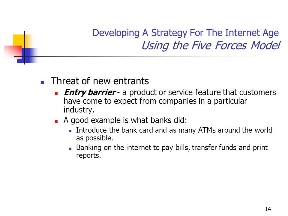 14 Developing A Strategy For The Internet Age Using the Five Forces Model Threat of new entrants Entry barrier - a product or service feature that customers have come to expect from companies in a particular industry.