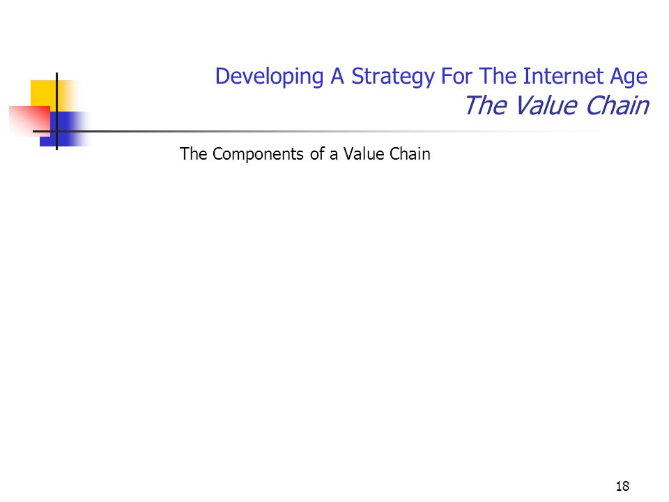 18 Developing A Strategy For The Internet Age The Value Chain The Components of a Value Chain