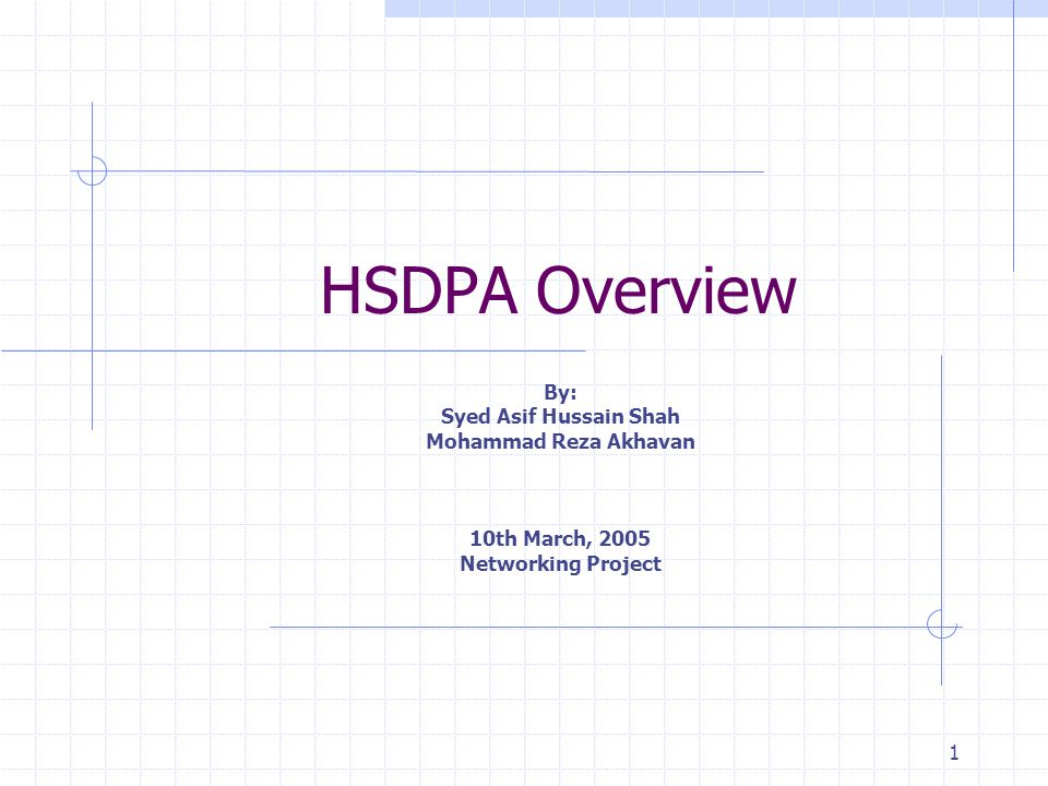 1 HSDPA Overview By: Syed Asif Hussain Shah Mohammad Reza Akhavan 10th March, 2005 Networking Project
