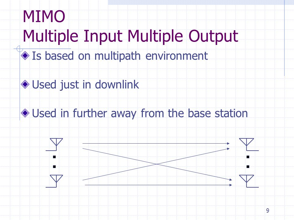 9 Is based on multipath environment Used just in downlink Used in further away from the base station MIMO Multiple Input Multiple Output