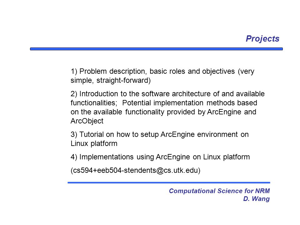 Projects Computational Science for NRM D.