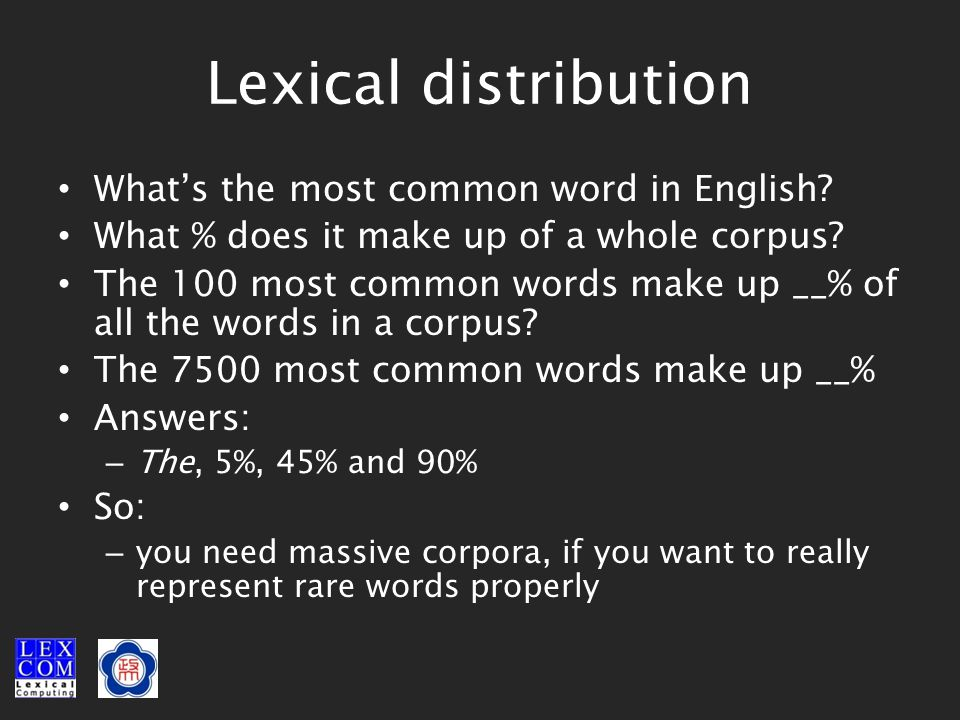 Lexical distribution What's the most common word in English.