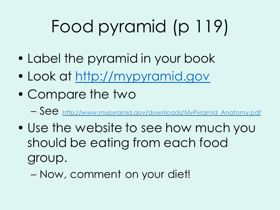 Food pyramid (p 119) Label the pyramid in your book Look at   Compare the two –See     Use the website to see how much you should be eating from each food group.