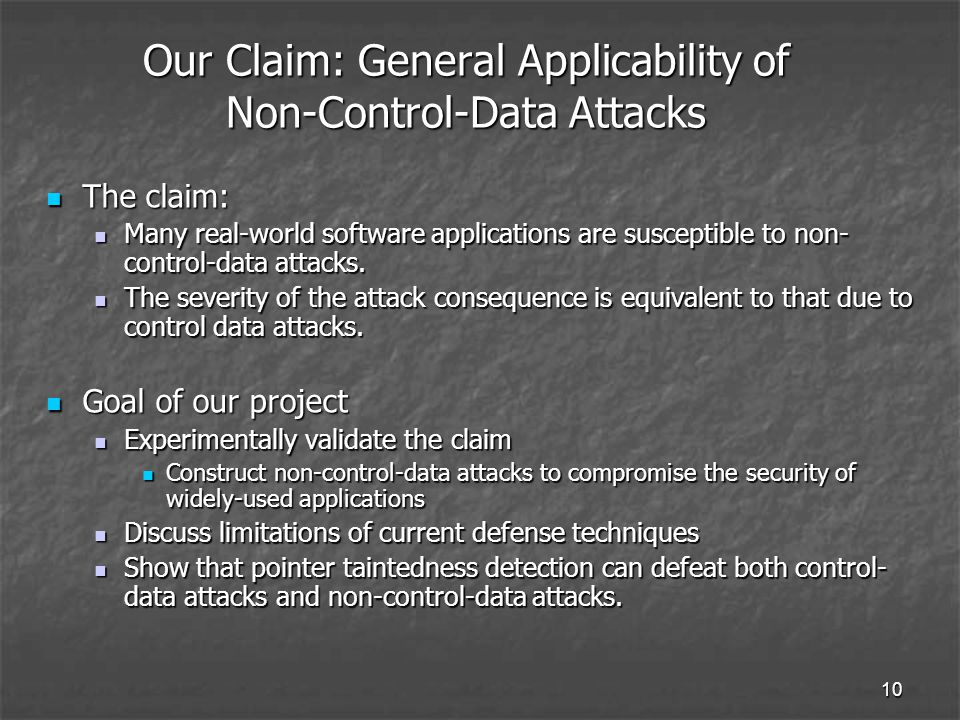 10 Our Claim: General Applicability of Non-Control-Data Attacks The claim: The claim: Many real-world software applications are susceptible to non- control-data attacks.