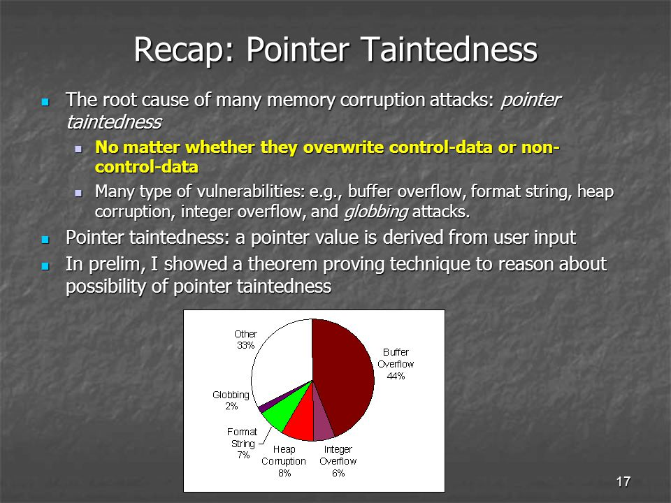 17 Recap: Pointer Taintedness The root cause of many memory corruption attacks: pointer taintedness The root cause of many memory corruption attacks: pointer taintedness No matter whether they overwrite control-data or non- control-data No matter whether they overwrite control-data or non- control-data Many type of vulnerabilities: e.g., buffer overflow, format string, heap corruption, integer overflow, and globbing attacks.