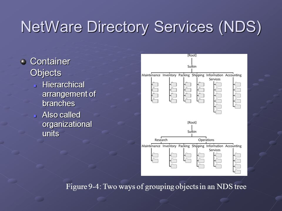 NetWare Directory Services (NDS) Container Objects Hierarchical arrangement of branches Hierarchical arrangement of branches Also called organizational units Also called organizational units Figure 9-4: Two ways of grouping objects in an NDS tree