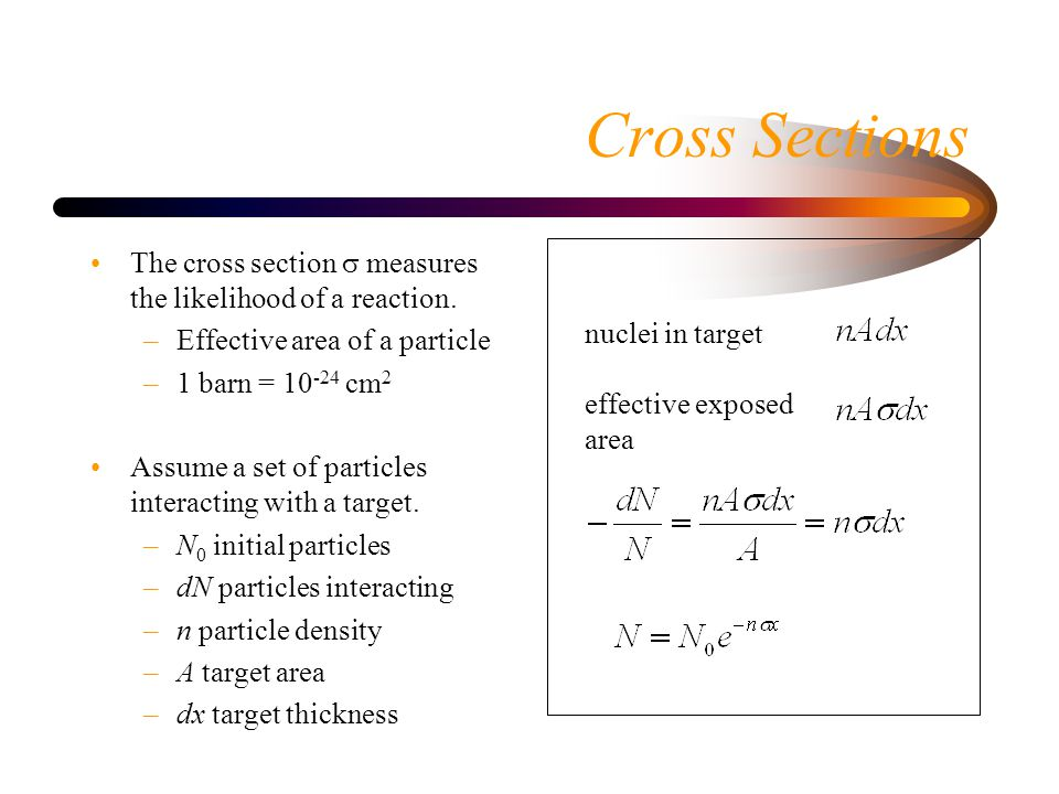 Cross Sections The cross section  measures the likelihood of a reaction.