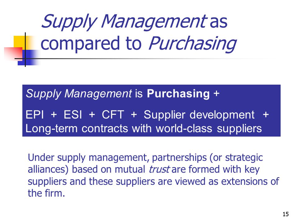 15 Supply Management as compared to Purchasing Supply Management is Purchasing + EPI + ESI + CFT + Supplier development + Long-term contracts with world-class suppliers Under supply management, partnerships (or strategic alliances) based on mutual trust are formed with key suppliers and these suppliers are viewed as extensions of the firm.