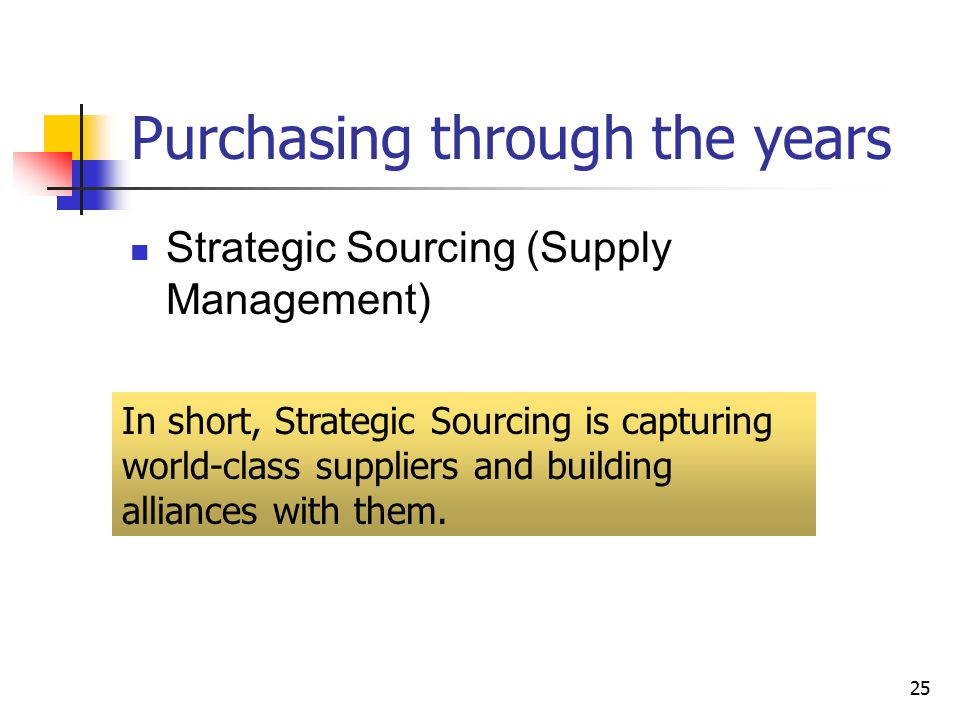 25 Purchasing through the years Strategic Sourcing (Supply Management) In short, Strategic Sourcing is capturing world-class suppliers and building alliances with them.