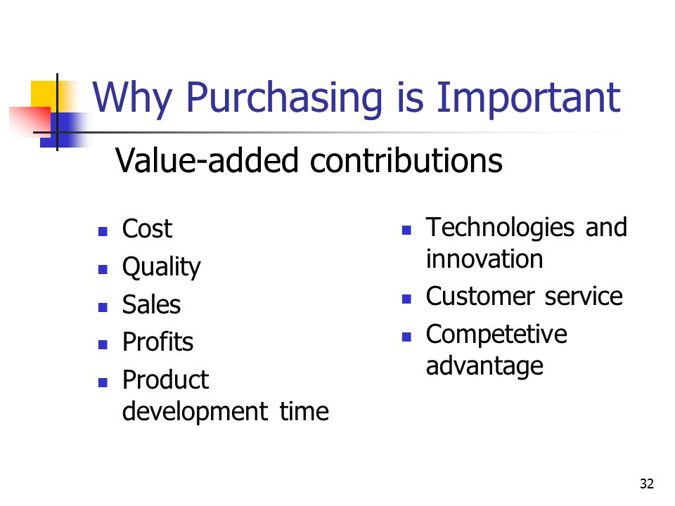 32 Why Purchasing is Important Cost Quality Sales Profits Product development time Technologies and innovation Customer service Competetive advantage Value-added contributions
