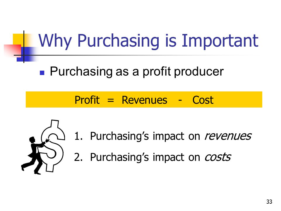 33 Why Purchasing is Important Purchasing as a profit producer Profit = Revenues - Cost 1.