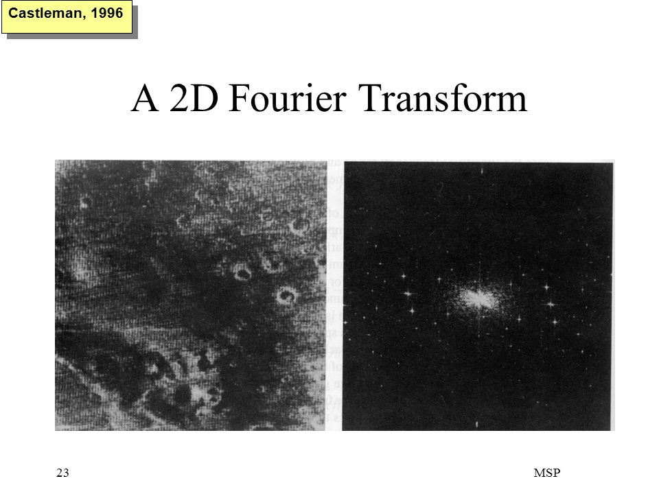 MSP23 A 2D Fourier Transform Castleman, 1996