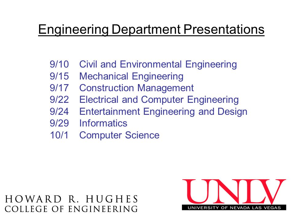 Engineering Department Presentations 9/10Civil and Environmental Engineering 9/15Mechanical Engineering 9/17Construction Management 9/22Electrical and Computer Engineering 9/24Entertainment Engineering and Design 9/29Informatics 10/1Computer Science