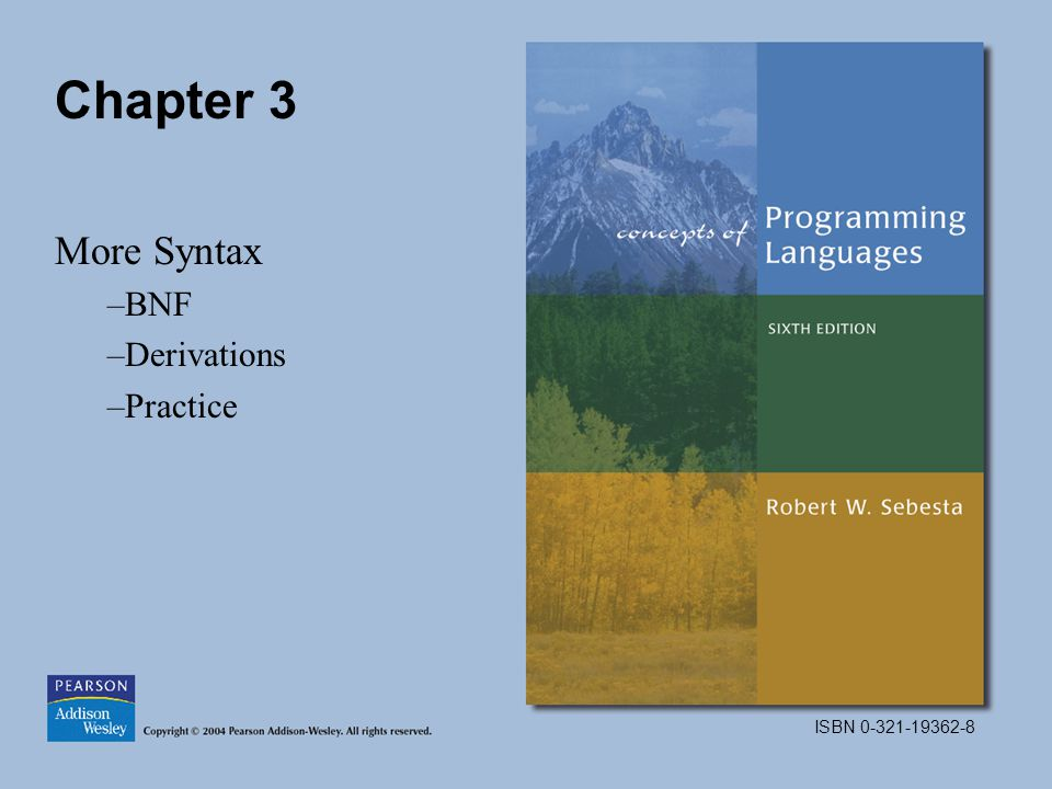 ISBN Chapter 3 More Syntax –BNF –Derivations –Practice